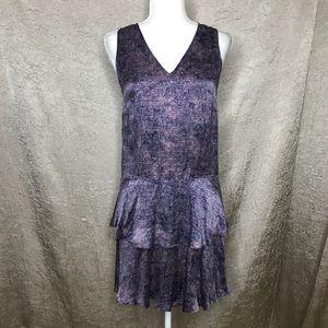 Rebecca Taylor Purple Silk Flutter Dress Size 4